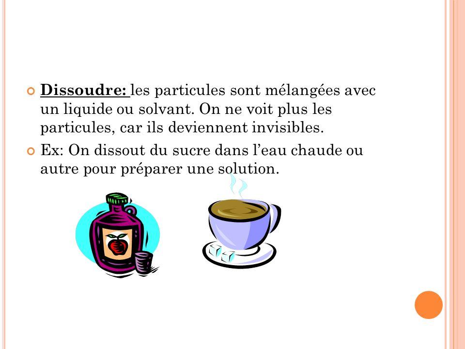 Dissoudre: les particules sont mélangées avec un liquide ou solvant