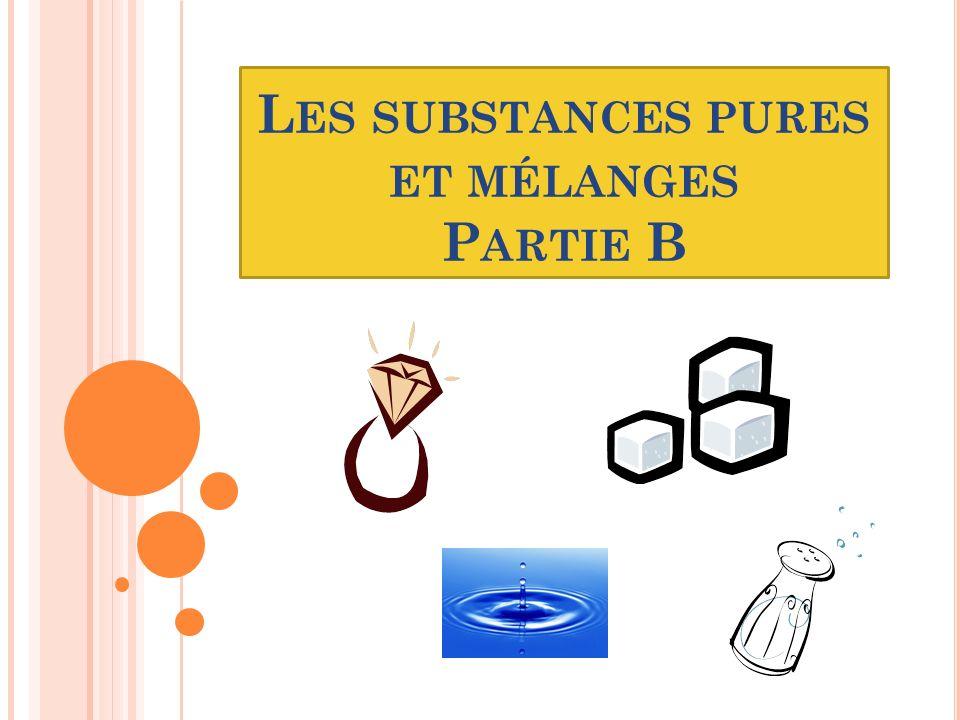Les substances pures et mélanges Partie B