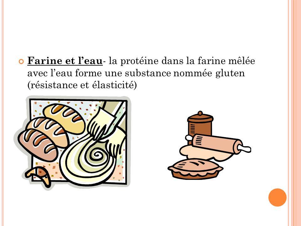 Farine et l'eau- la protéine dans la farine mêlée avec l'eau forme une substance nommée gluten (résistance et élasticité)