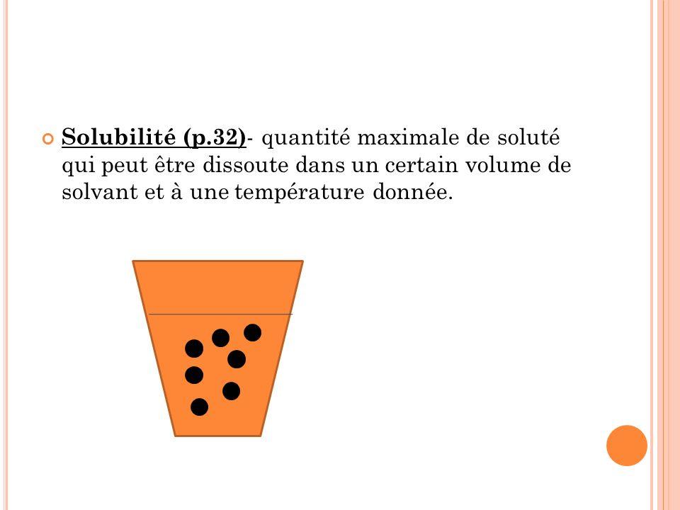 Solubilité (p.32)- quantité maximale de soluté qui peut être dissoute dans un certain volume de solvant et à une température donnée.
