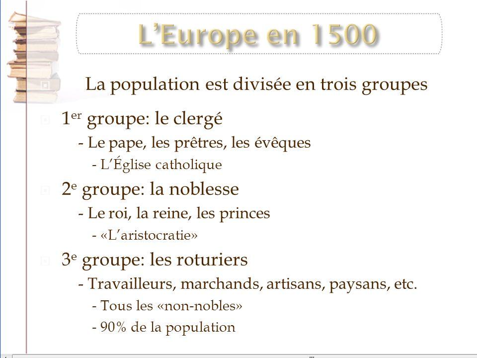 L'Europe en 1500 La population est divisée en trois groupes