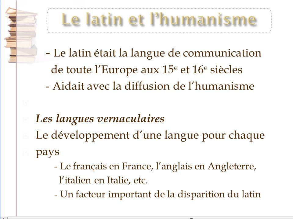 Le latin et l'humanisme