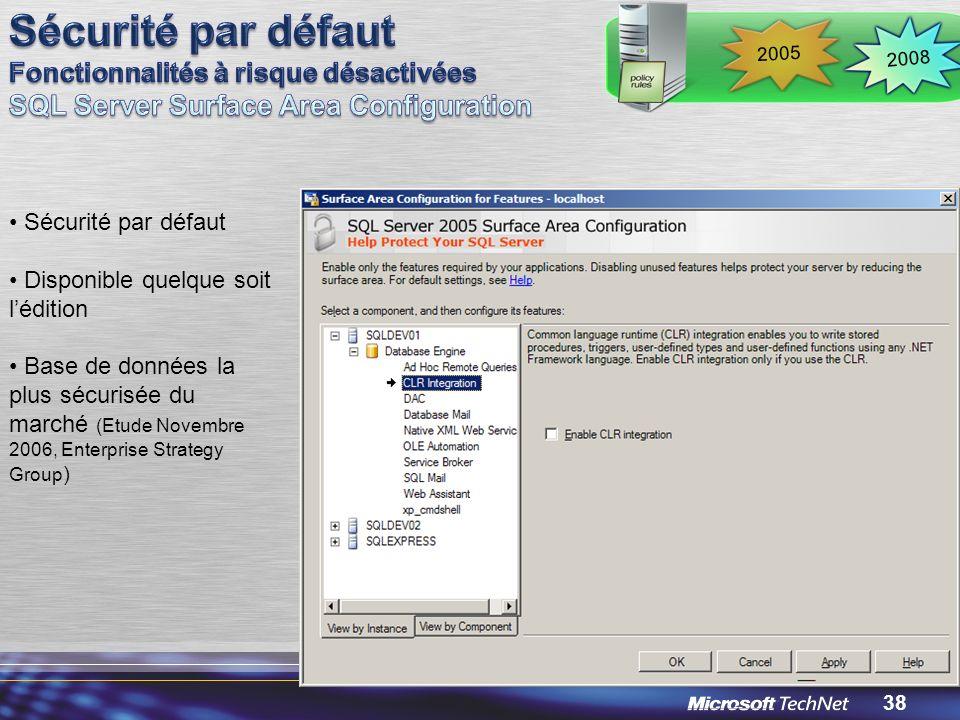 Sécurité par défaut Fonctionnalités à risque désactivées SQL Server Surface Area Configuration