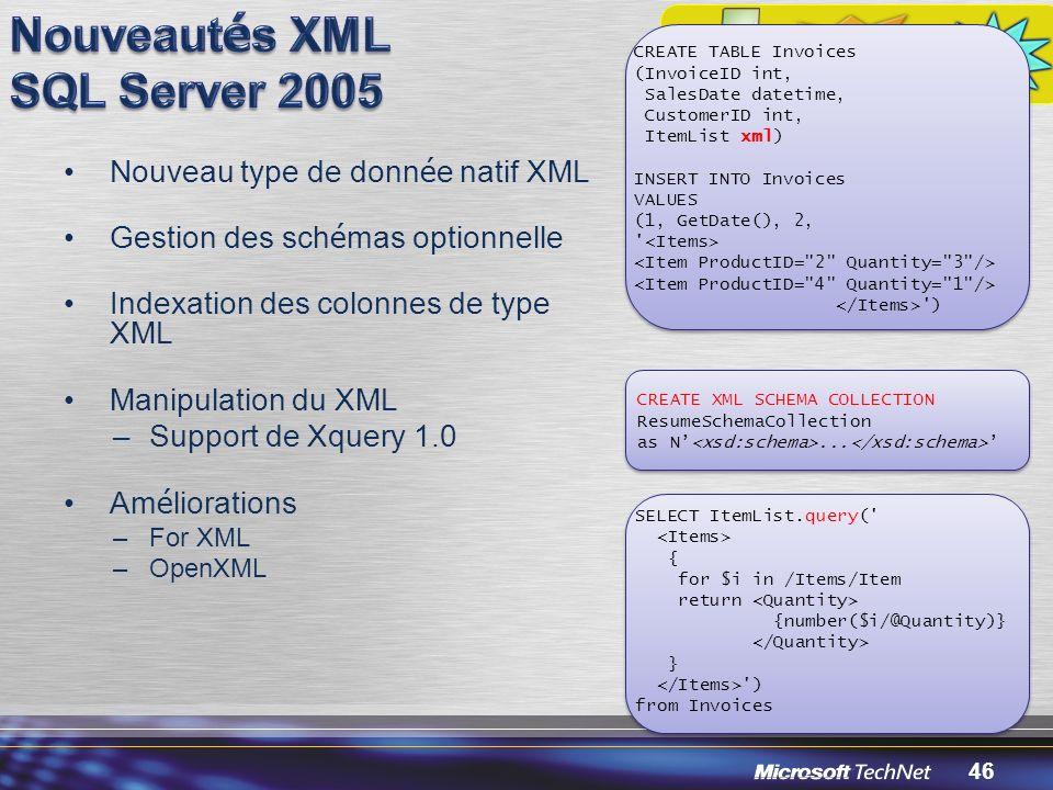 Nouveautés XML SQL Server 2005