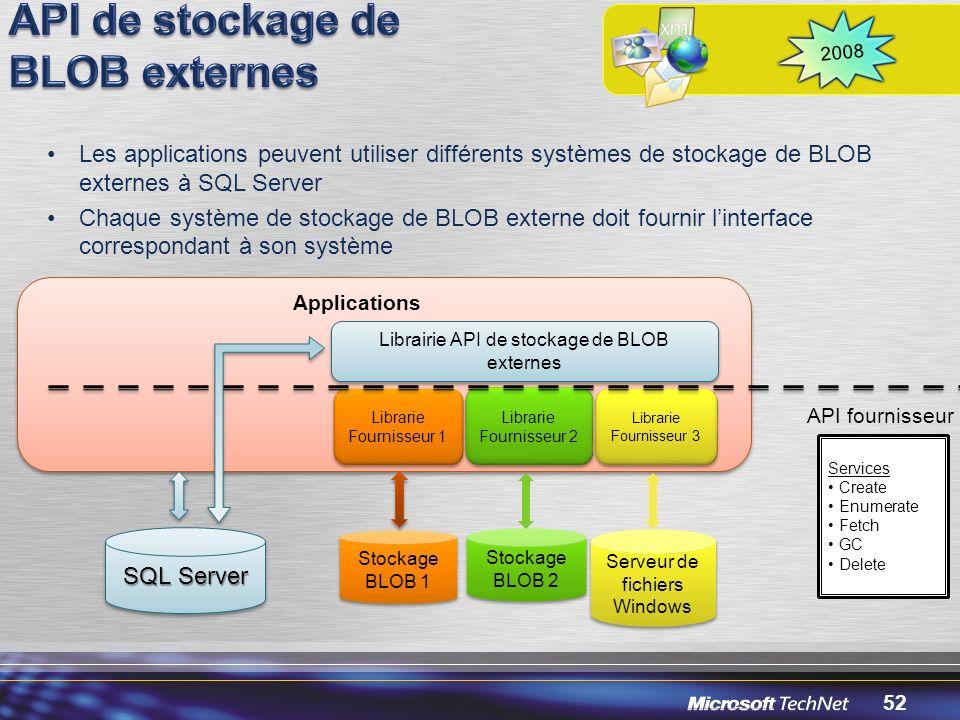 API de stockage de BLOB externes