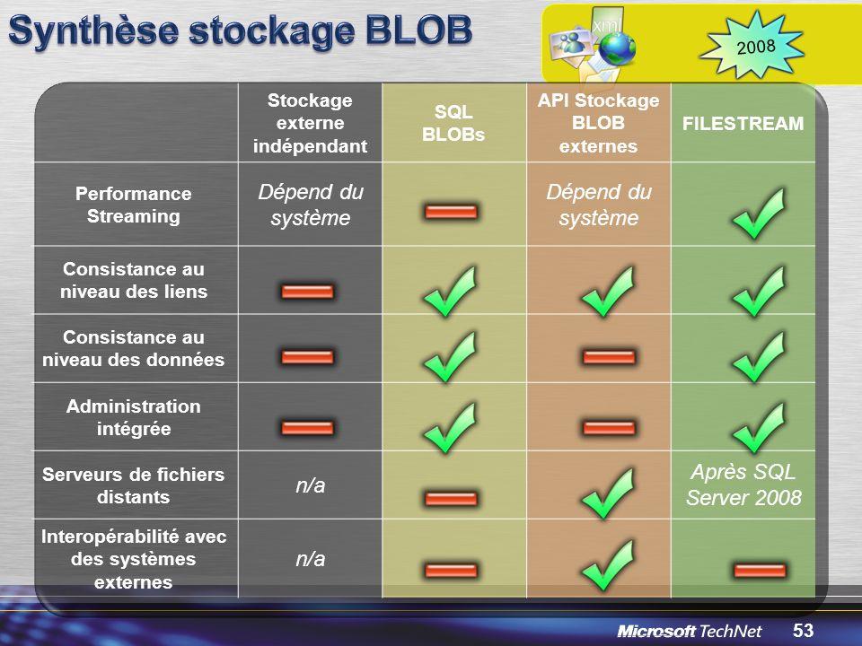 Synthèse stockage BLOB