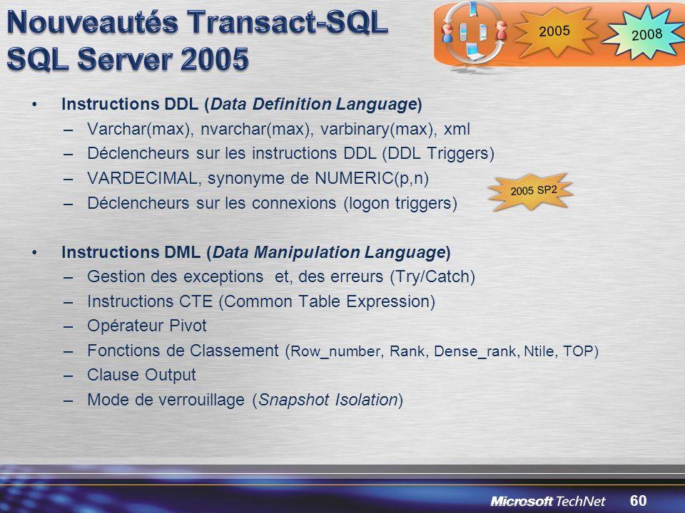 Nouveautés Transact-SQL SQL Server 2005