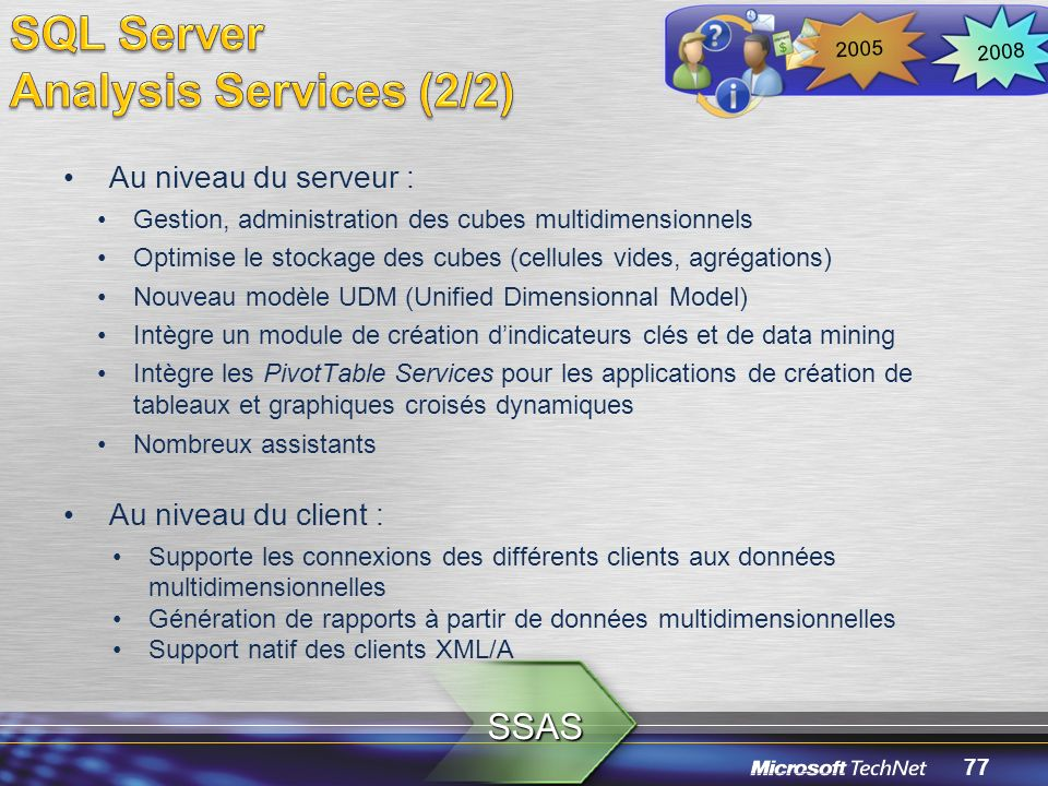 SQL Server Analysis Services (2/2) SSAS Au niveau du serveur :