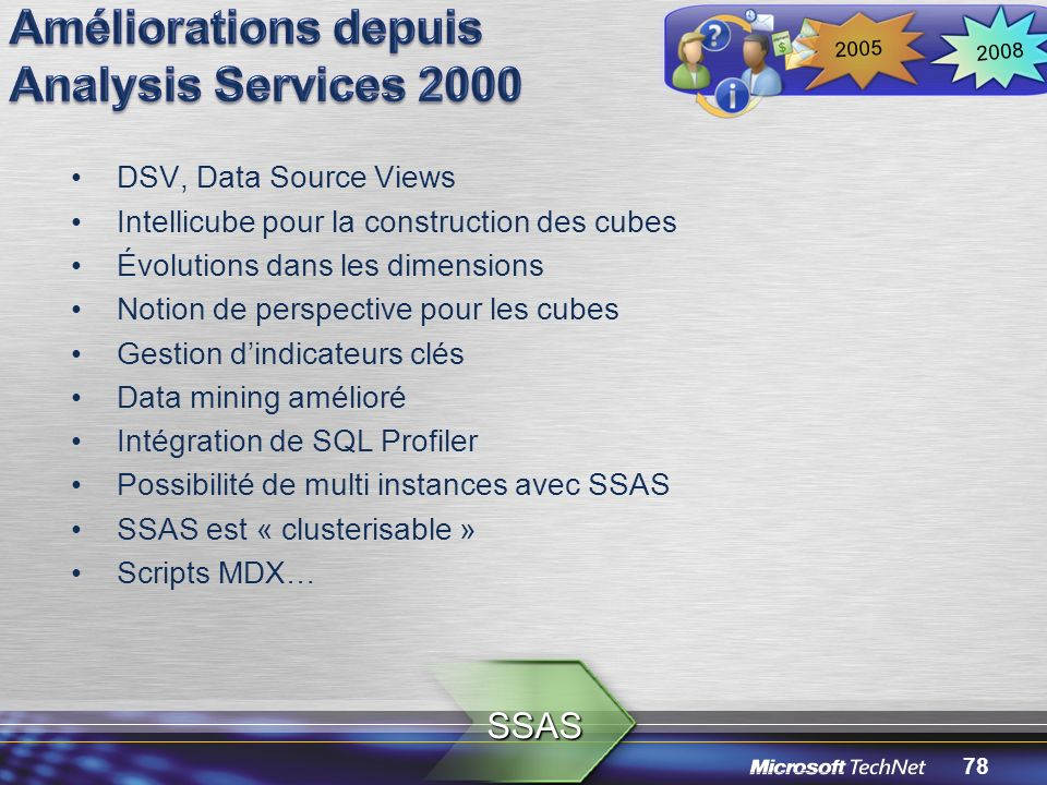 Améliorations depuis Analysis Services 2000