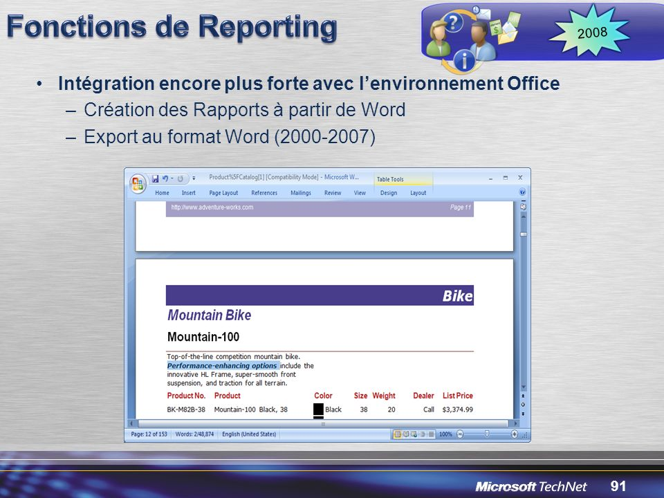 Fonctions de Reporting