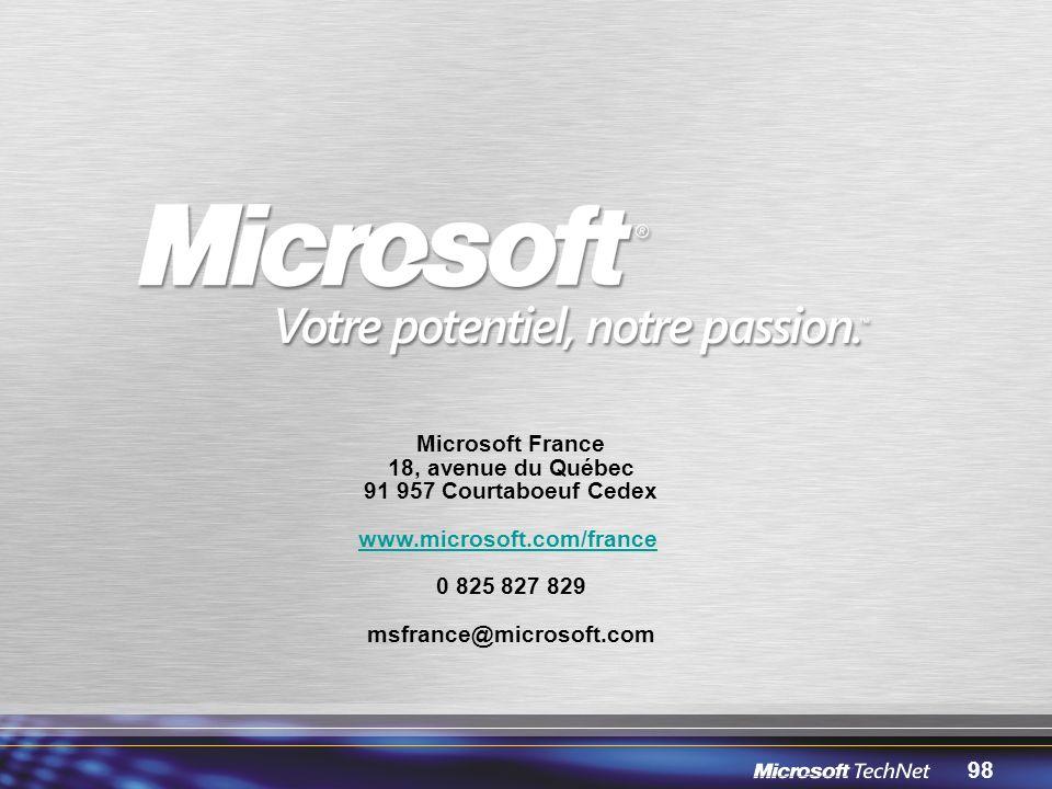 Microsoft France 18, avenue du Québec. 91 957 Courtaboeuf Cedex. www.microsoft.com/france. 0 825 827 829.