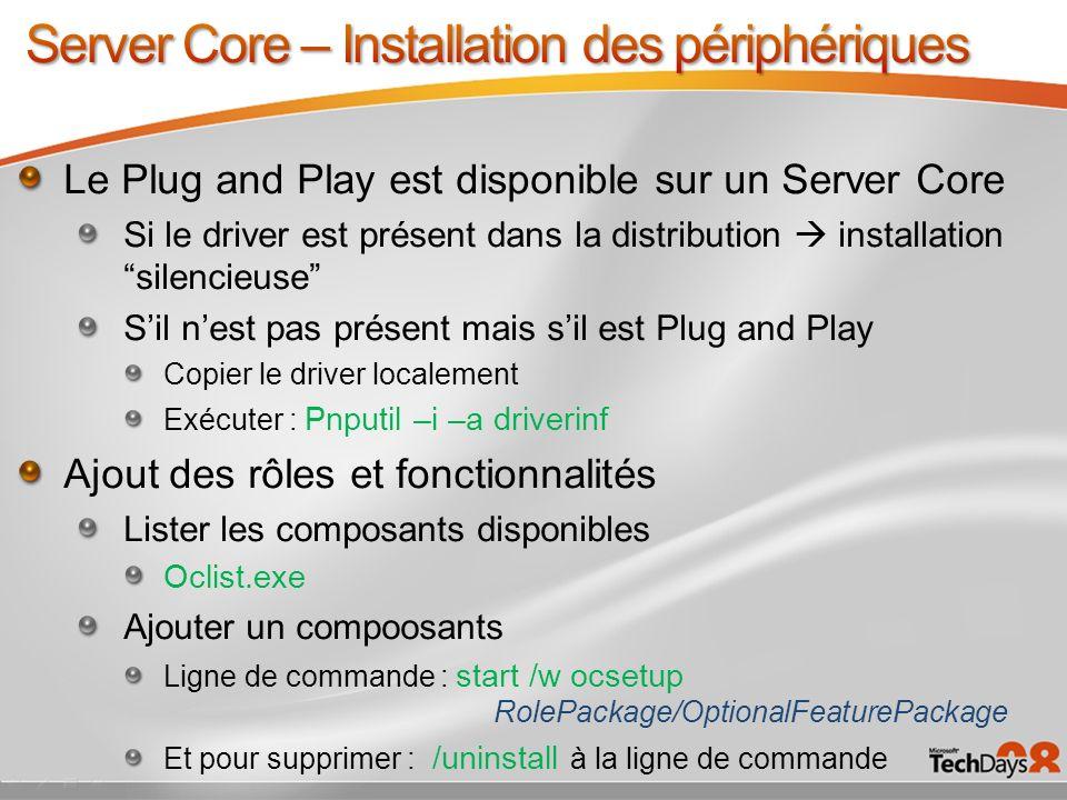 Server Core – Installation des périphériques