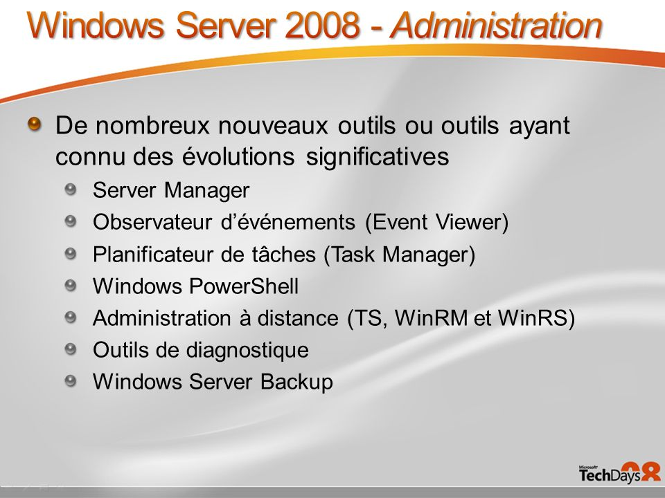 Windows Server 2008 - Administration