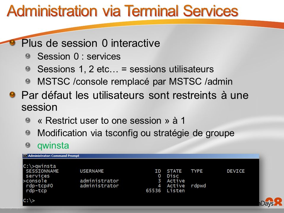 Administration via Terminal Services