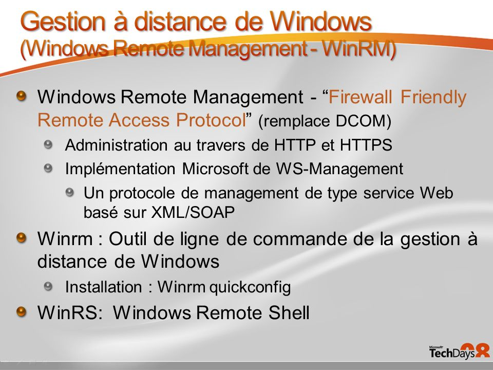 Gestion à distance de Windows (Windows Remote Management - WinRM)