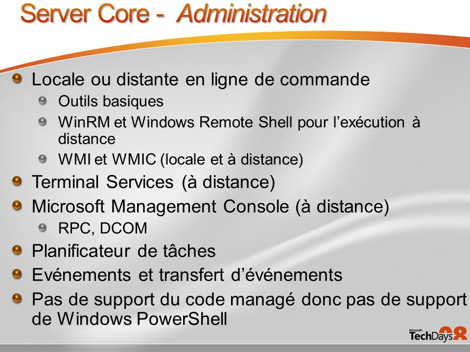 Server Core - Administration