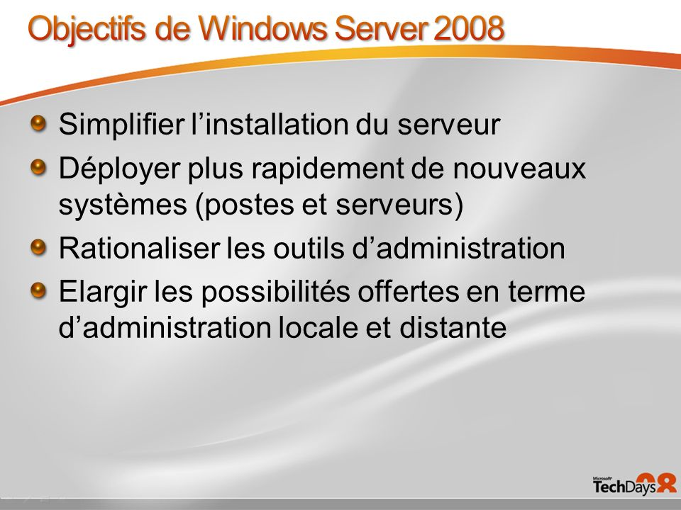 Objectifs de Windows Server 2008