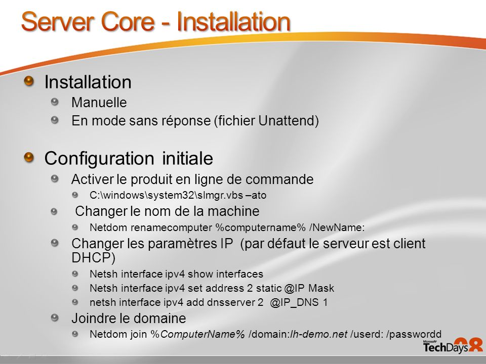 Server Core - Installation