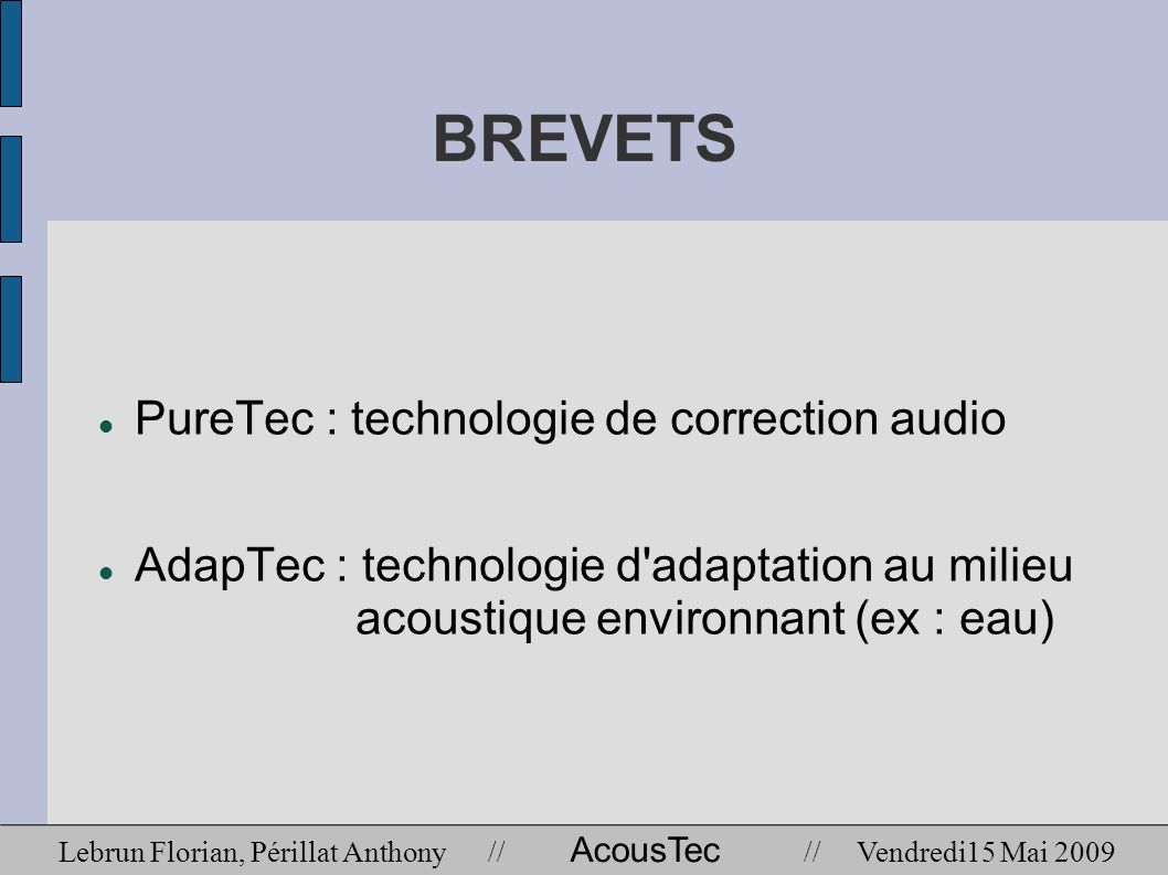 BREVETS PureTec : technologie de correction audio