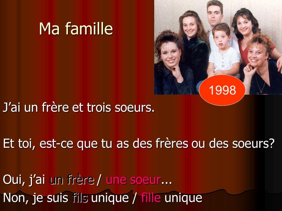 Ma famille 1998 J'ai un frère et trois soeurs.