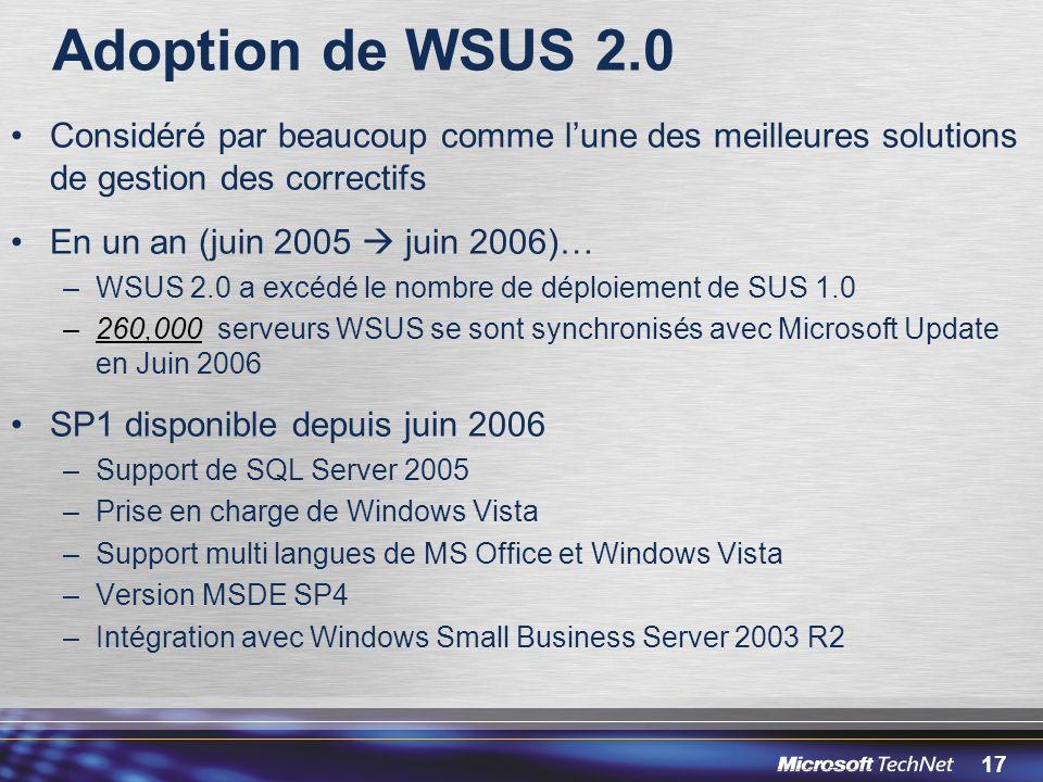 Adoption de WSUS 2.0 Considéré par beaucoup comme l'une des meilleures solutions de gestion des correctifs.