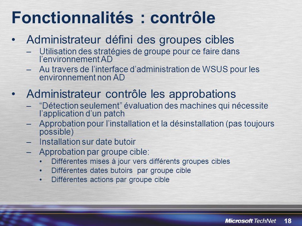 Fonctionnalités : contrôle