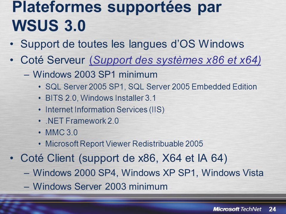 Plateformes supportées par WSUS 3.0