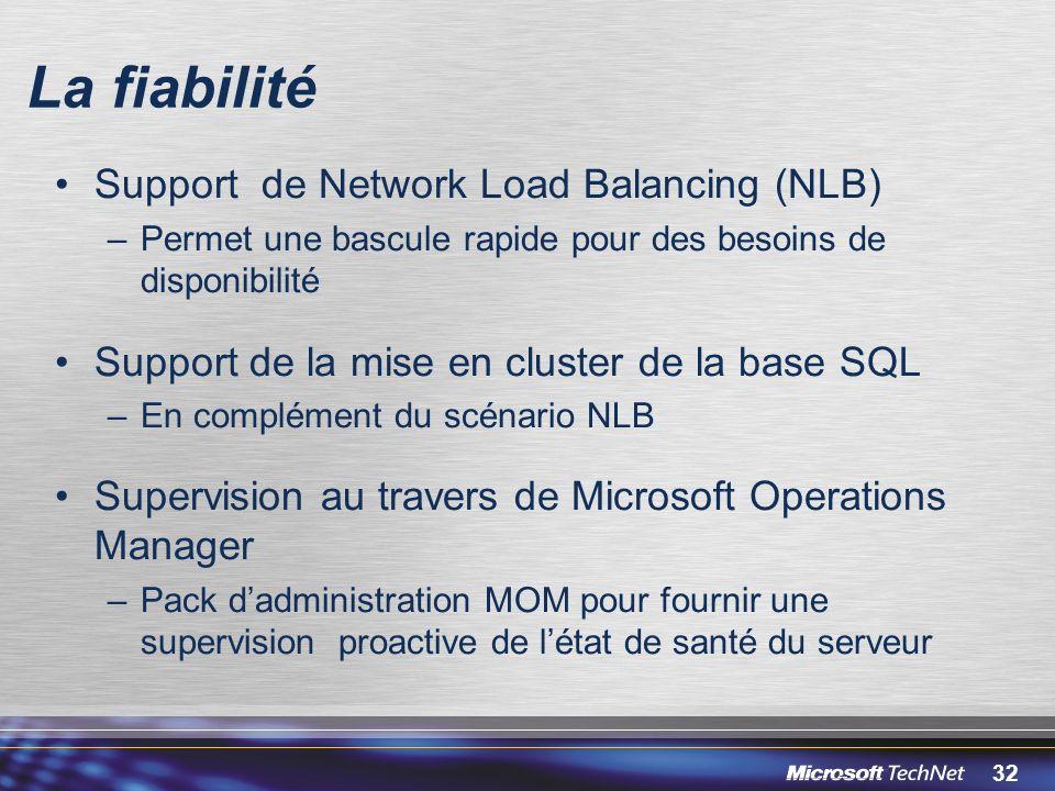 La fiabilité Support de Network Load Balancing (NLB)