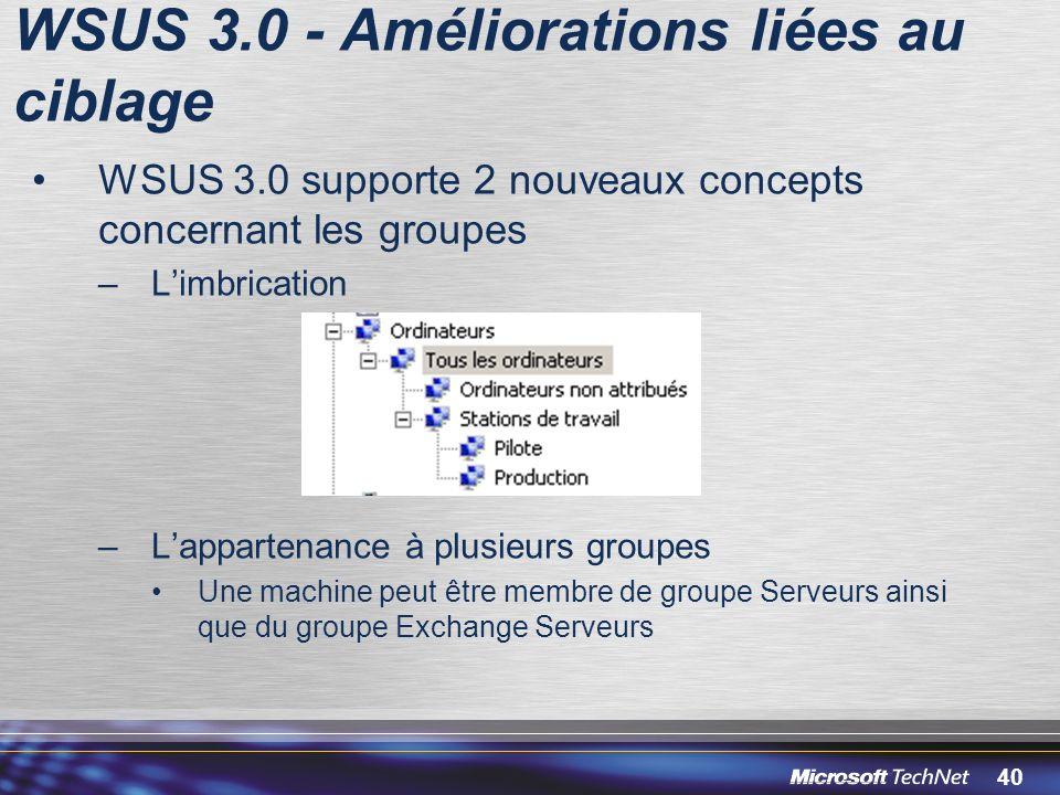 WSUS 3.0 - Améliorations liées au ciblage