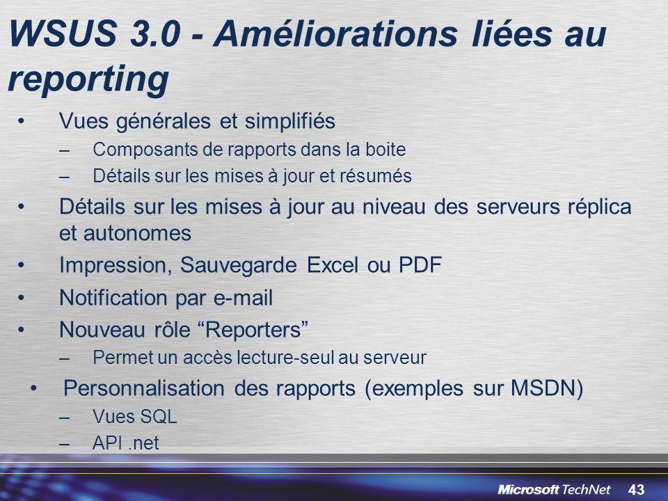 WSUS 3.0 - Améliorations liées au reporting