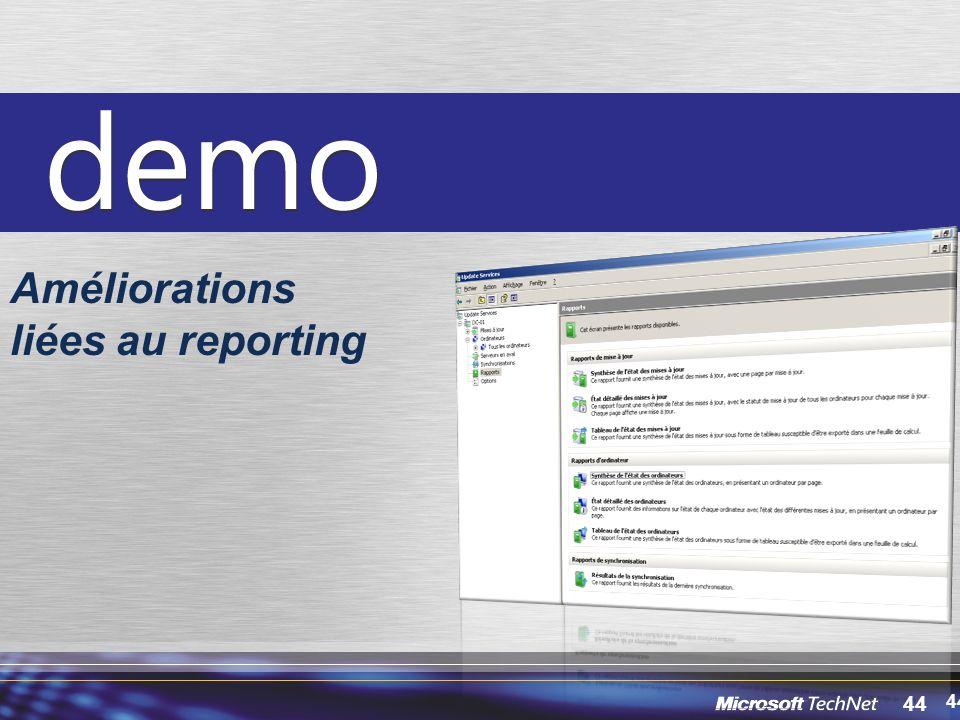 Améliorations liées au reporting