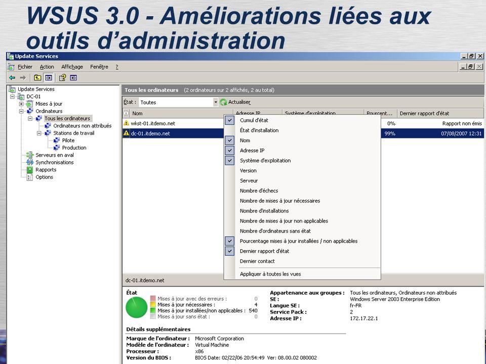 WSUS 3.0 - Améliorations liées aux outils d'administration