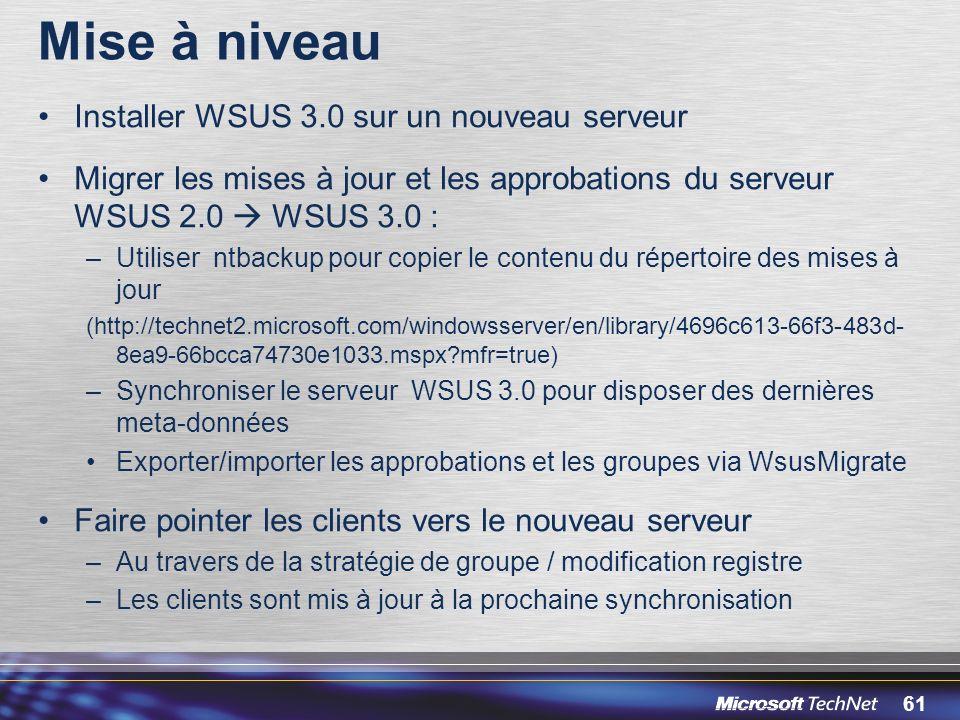 Mise à niveau Installer WSUS 3.0 sur un nouveau serveur
