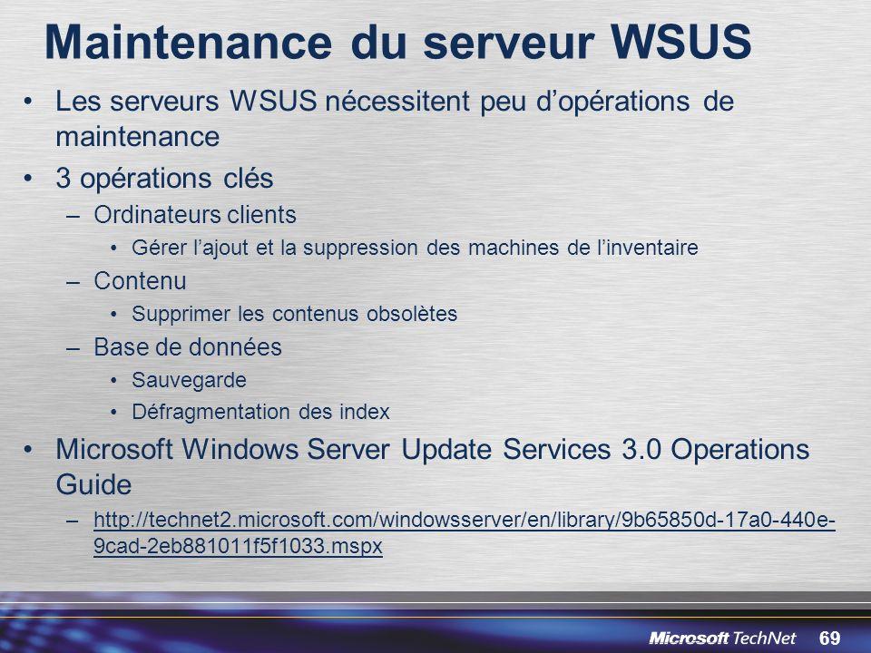 Maintenance du serveur WSUS