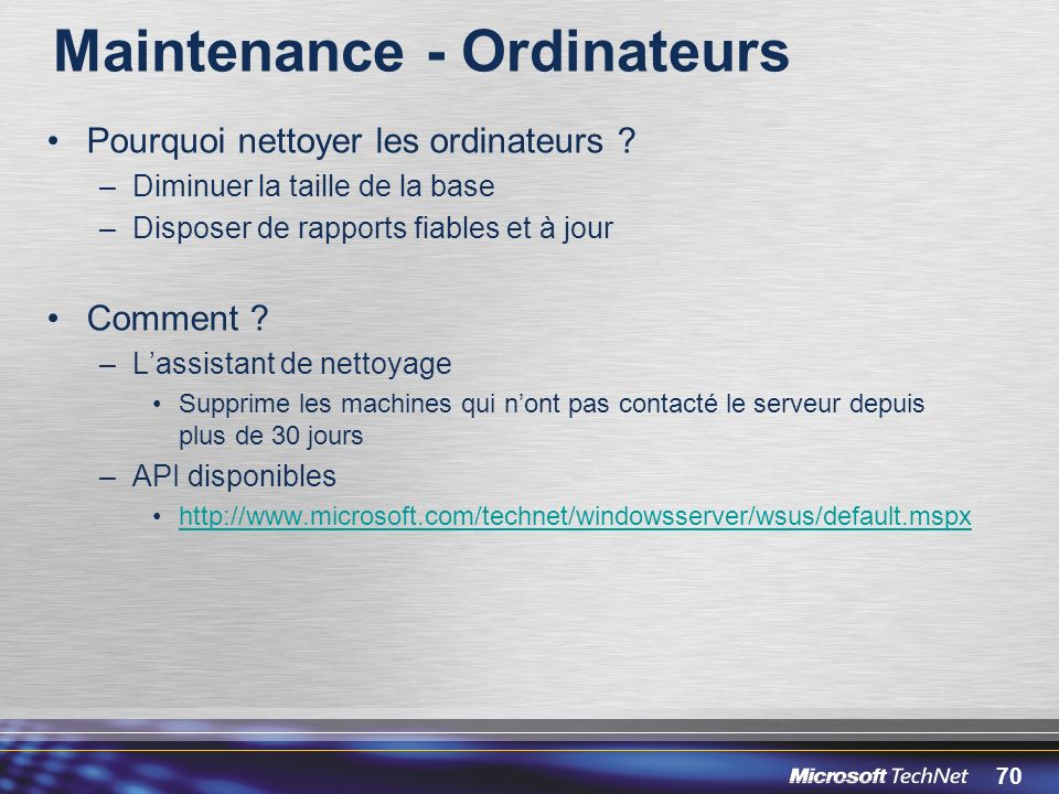 Maintenance - Ordinateurs