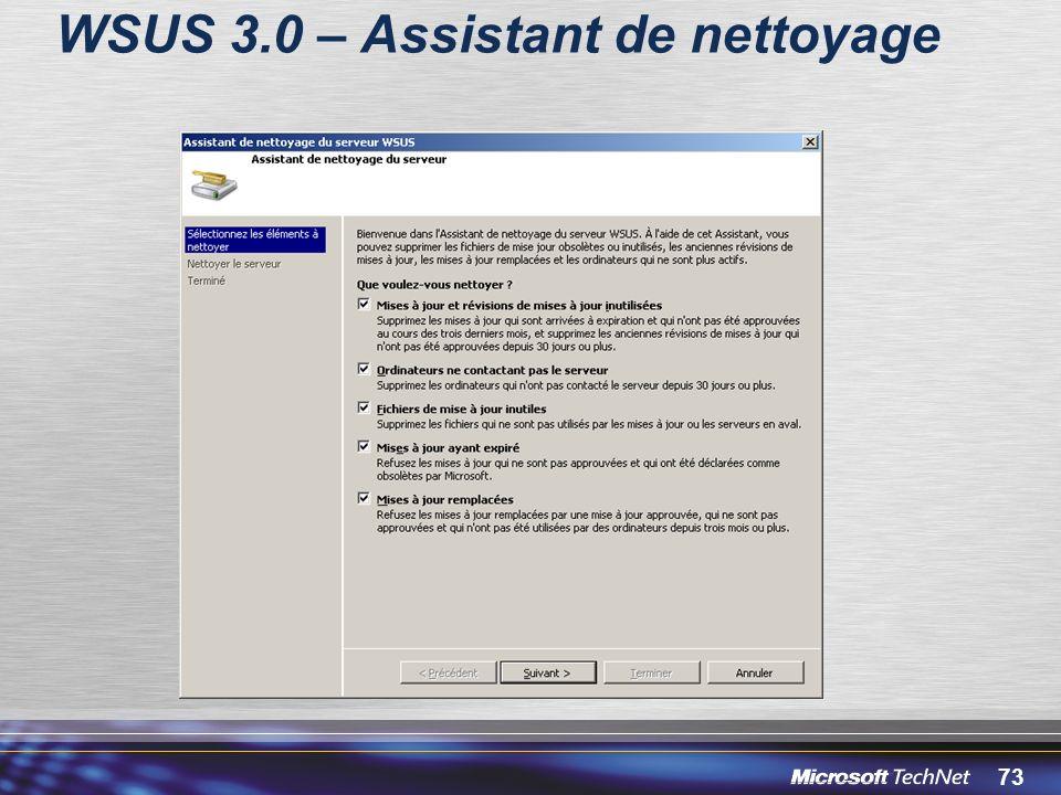 WSUS 3.0 – Assistant de nettoyage