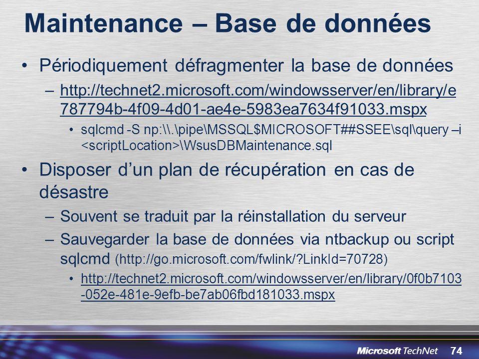 Maintenance – Base de données