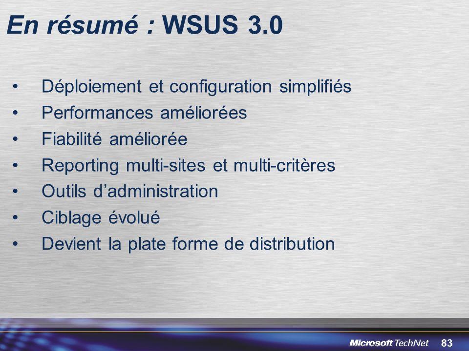 En résumé : WSUS 3.0 Déploiement et configuration simplifiés