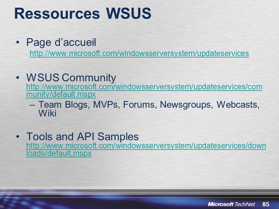 Ressources WSUS Page d'accueil