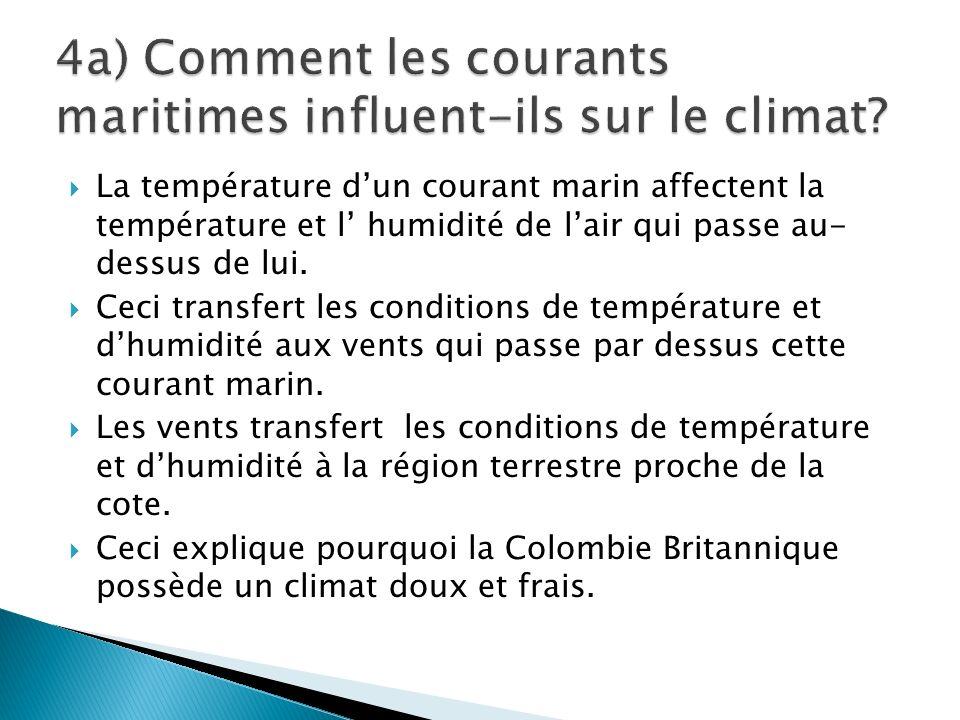 4a) Comment les courants maritimes influent-ils sur le climat
