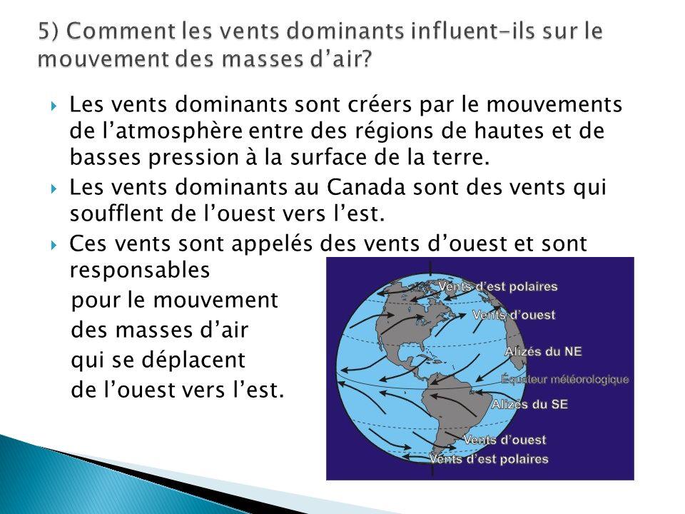 5) Comment les vents dominants influent-ils sur le mouvement des masses d'air