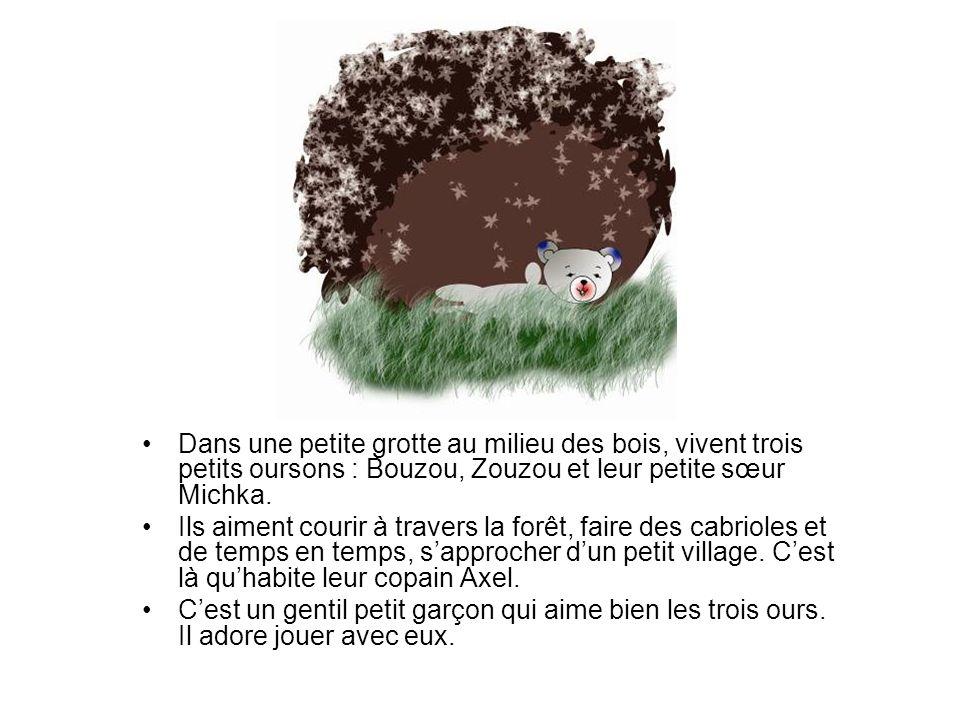 Dans une petite grotte au milieu des bois, vivent trois petits oursons : Bouzou, Zouzou et leur petite sœur Michka.