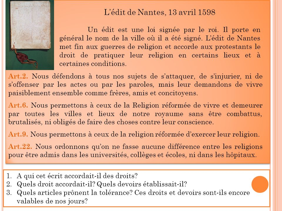 L'édit de Nantes, 13 avril 1598