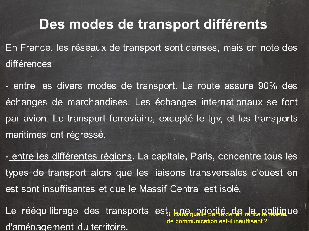 Des modes de transport différents