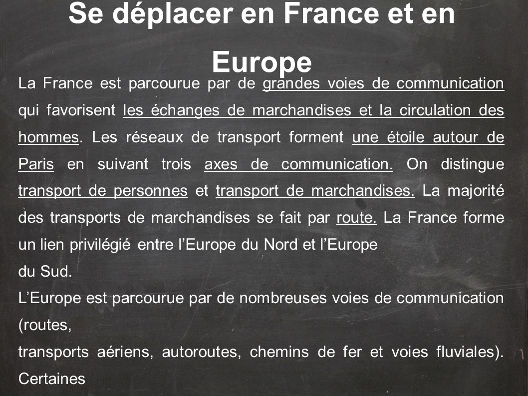 Se déplacer en France et en Europe