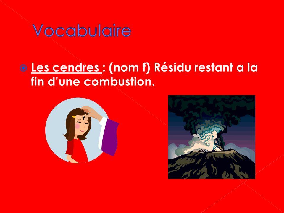 Vocabulaire Les cendres : (nom f) Résidu restant a la fin d'une combustion.