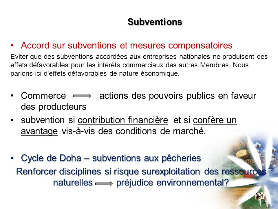 Accord sur subventions et mesures compensatoires :