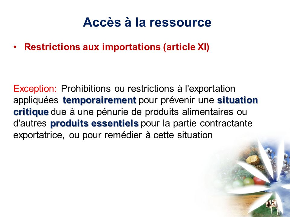 Accès à la ressource Restrictions aux importations (article XI)