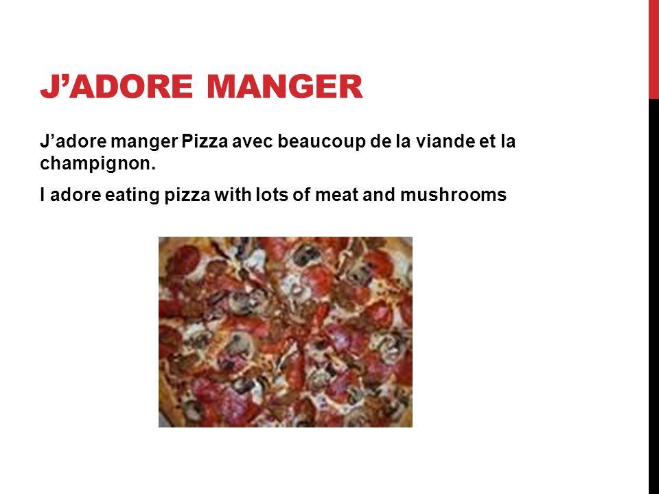 J'adore manger J'adore manger Pizza avec beaucoup de la viande et la champignon.