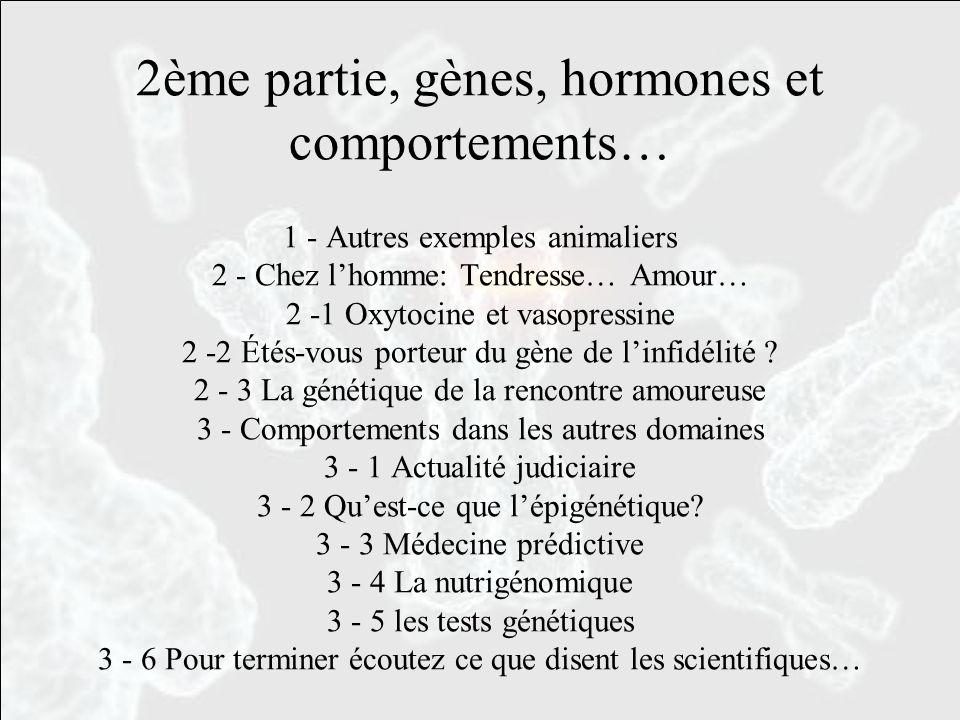 2ème partie, gènes, hormones et comportements… 1 - Autres exemples animaliers 2 - Chez l'homme: Tendresse… Amour… 2 -1 Oxytocine et vasopressine 2 -2 Étés-vous porteur du gène de l'infidélité .